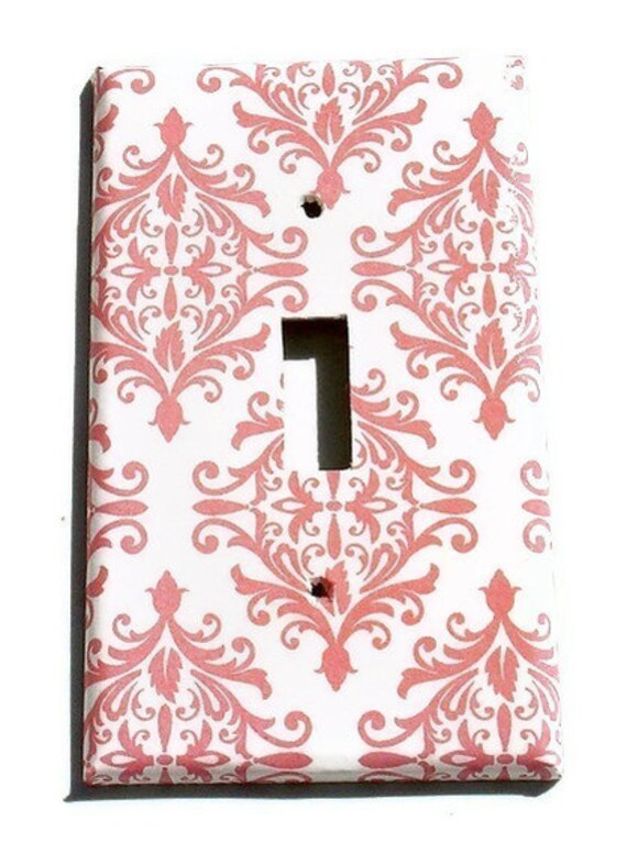 Wall Decor Light Switch Cover    Switch Plate  in Pink Damask   (152S)