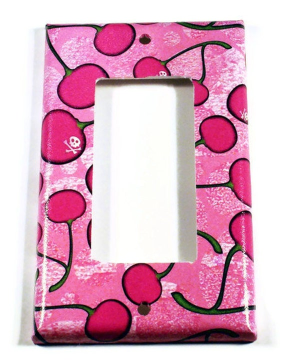 Switchplate Light Switch Cover  Wall Decor Switch Plate  in  Cherry Skulls  Pink  (278R)
