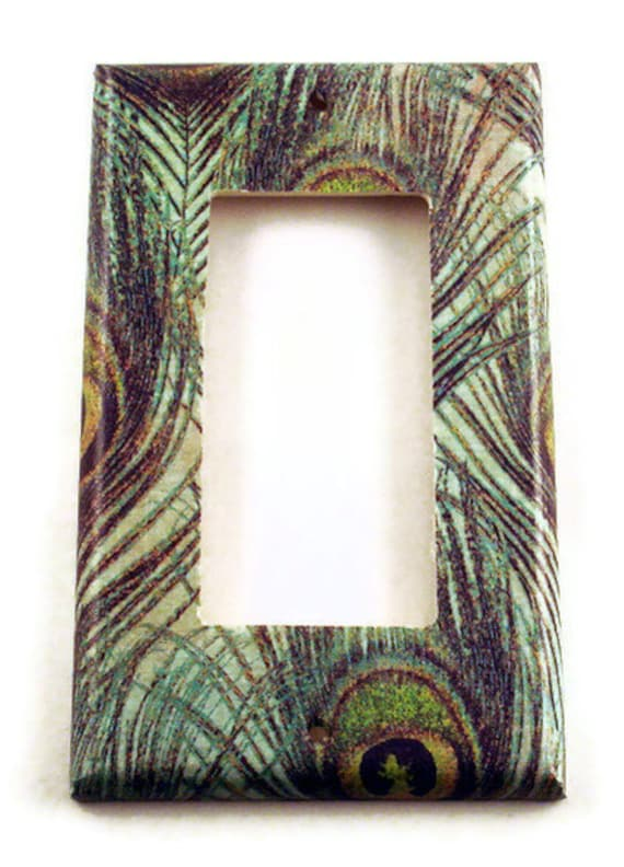 Light Switch Cover Wall Decor Switchplate  Single Rocker Light Switch Plate in Peacock (222R)