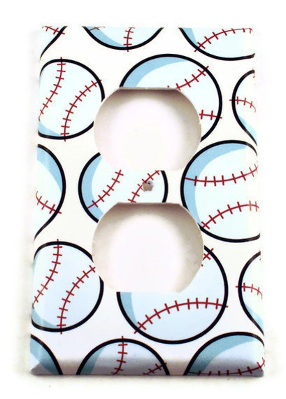 Switch Plate Wall Decor  Boys Room Light Switch Cover in  Home Run Baseball (160O)