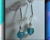 Teal, Aqua Blue Earrings,  Dangle Earrings, Bridesmaid Earrings, Casual Earrings, Blue Earrings,Silver plated Lever back earwires Item #581
