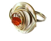 Vintage Pearl Button Ring,   Wire Wrapped,  gold wire swirl wraps,  Tangerine Orange Focal bead, Jewelry accessories,   Ring Size 7