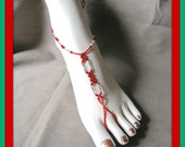Anklet,  Barefoot Sandal,  Red Anklet,  Beaded Bracelet, Foot Jewelry , Body Jewelry, size 8-9.5 adjustable 1 pair Item #739