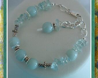 Blue Bracelet,  Amazonite, Blue Topaz Gemstone Beaded Bracelet up to 8 inch adj.  Jewelry Accessories,  Item #443