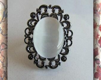 Statement Ring, Fiber Optic,  Filigree Ring,  Vintage Antique Look,  White Adjustable Item #629