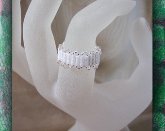 White Pearl Seed Beaded Ring,  Band Style Ring, Statement Ring, Bridesmaid Ring,  Size 9, Jewelry Accessory, Finger Ring, Item #1052