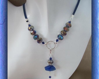 Blue Sapphire Pendant Necklace,  Beaded Necklace,  Crystals, Blue Suede Cord  Adjustable 17 - 21 inches Item #638