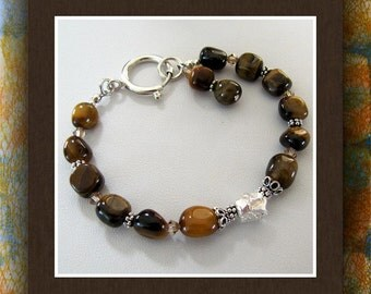 Tiger Eye Bracelet,  Gemstone Nugget Beaded Bracelet, 7.5 Inch,   Sterling Clasp, Beaded Bracelet,  Sterling Silver Embellishments Item #680