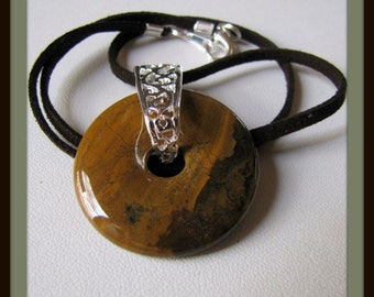 Jasper Donut Pendant,  Jasper Necklace, Picasso Jasper Pendant , Gemstone Pendant, Espresso Brown Suede Cord  18 to 24 inch. Item #746