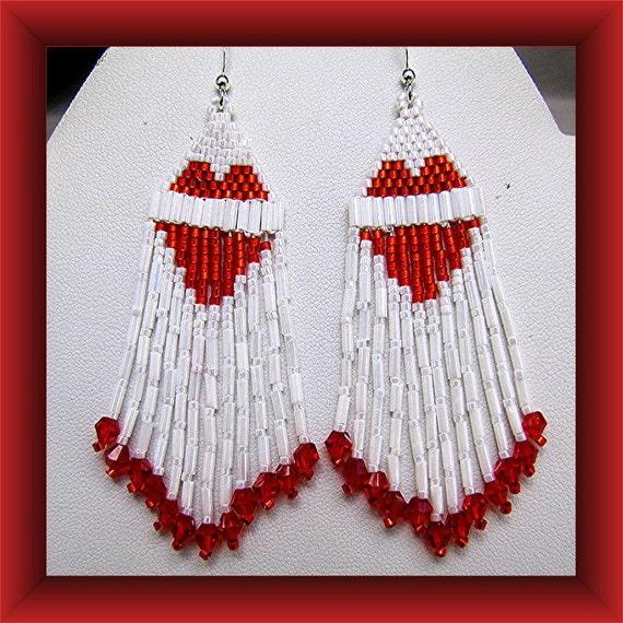 Red Heart Earrings Beaded Chandelier  Valentine Dangles Sterling Wires Item #727