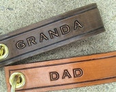 Daddy or Dad et al - The First Man I Loved - Leather Key Chain - text on both sides