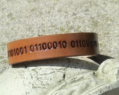 Custom BINARY CODE Leather Wristband - 5/8 inch wide Band