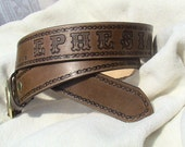 Custom - Personalized Leather Belt - 1.5 inches wide - with celtic, bike chain, barbed wire or plain border