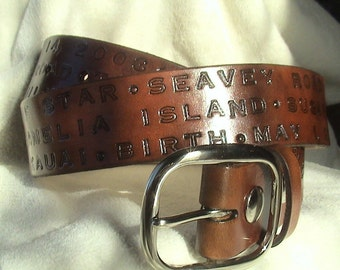 Personalized - 3rd Anniversary - Leather Memory Belt - 1.5 inches wide with buckle