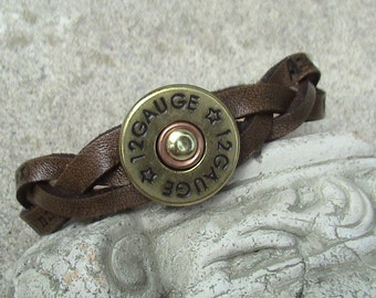 Sons of Anarchy Inspired - thin braided leather wristband with brass 12 gauge shotgun concho.
