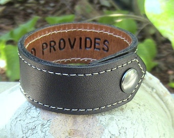 For Your Eyes Only -  Secret Message Leather Wristband with top stitch- 1 inch wide