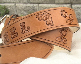 Personalized - antique/vintage style leather belt 1.5 inches wide with buckle