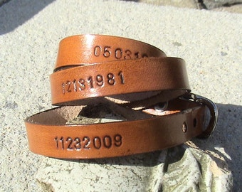 Custom Triple Wrap Leather Wristband - by the numbers - 3/8 inch wide band with buckle