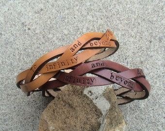 His n Hers - 3rd Anniversary - To Infinity...and beyond - leather ultra thin - 1/2 inch wide braided wristbands - set of two