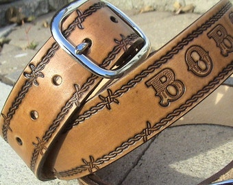 Personalized - Antiqued/Vintage style leather belt - Avaialbe in Both Upper and Lower Case Large Font