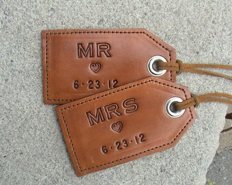 His and Hers Wedding - 3rd Anniversary - MR. & MRS. Leather luggage tags - set of 2