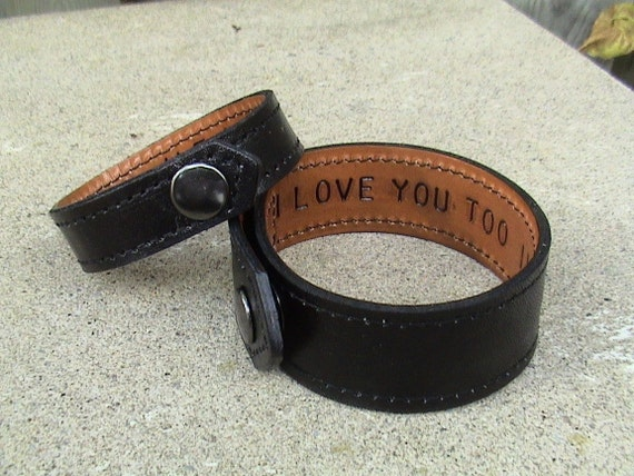 For Your Eyes Only - His and Hers - Leather Wristbands - set of 2