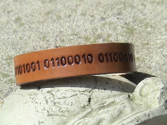 Custom BINARY CODE Leather Wristband - 5/8 inch wide Band