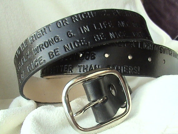 Custom 3rd Anniversary Leather Belt - 1.5 inches wide