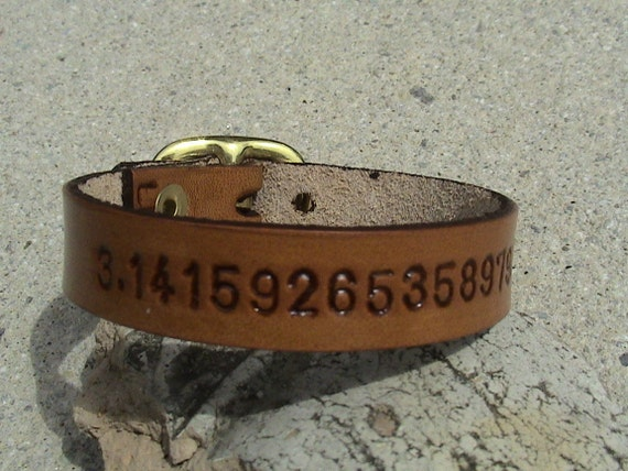 Pi - Leather wristband with buckle - 3/8 inch wide band with buckle