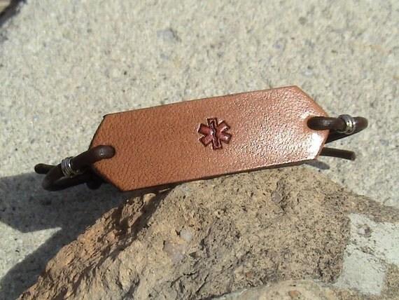 Custom - Medic Alert - leather adjustable wristband - gaucho knot closure