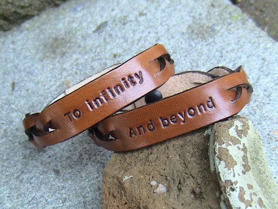 His and Hers - To Infinity and Beyond - Leather Signet Braided wristbands - set of two - 5/8 inches wide