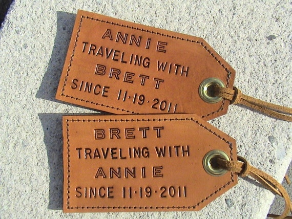 Featured in Country Living - His and Hers - Personalized Leather Luggage Tags - set of 2 - Travel(l)ing with... since