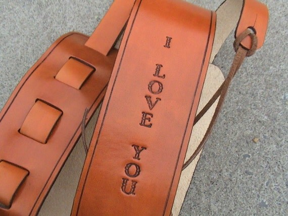 LMN Custom - Personalized Leather Adjustable - Acoustic or Electric Guitar Strap - short text