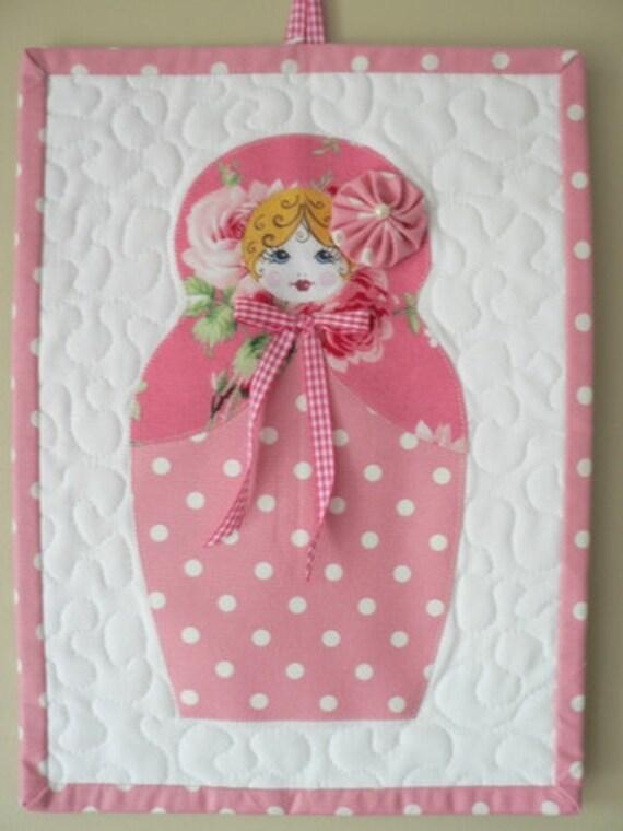 SALE Matryoshka Mini Quilt wall hanging
