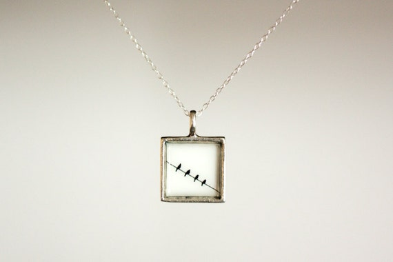 Four Birds on a Wire Necklace