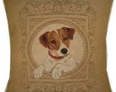 Medallion Jack Russell Terrier Cream Woven Tapestry Cushion Cover Sham