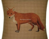 Fox Standing Check Tapestry Cushion Cover Sham