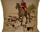 Hunting Huntsman Hounds Horses No 1 Tapestry Cushion Cover Sham