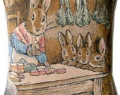 Beatrix Potter Bunnies Lunchtime Tapestry Cushion Cover Sham Pillow