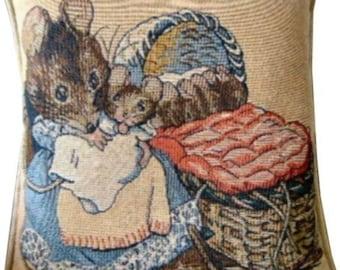 Beatrix Potter Hunca Munca Tapestry Cushion Cover Sham Pillow