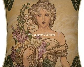Alphonse Mucha Art Noveau Seasons Spring Tapestry Cushion Cover Sham