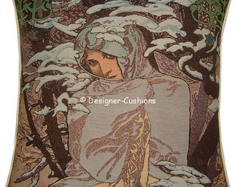 Alphonse Mucha Art Noveau Seasons Winter Tapestry Cushion Cover Sham