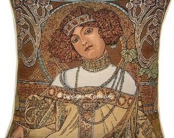 Alphonse Mucha Art Noveau Seasons Fall Autumn Tapestry Cushion Cover Sham