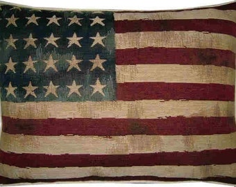 Vintage Style USA Stars and Stripes American Flag Woven Tapestry Cushion Pillow Cover