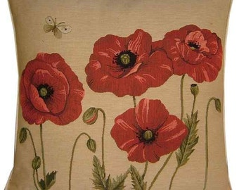 4 Red Poppies Tapestry Cushion Cover