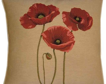 3 Red Poppies Tapestry Cushion Cover