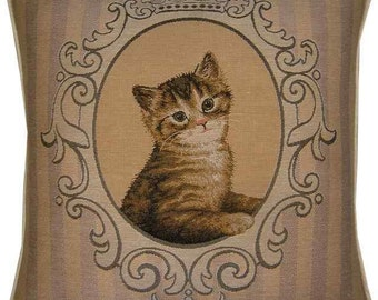 Tabby Kitten in Frame Tapestry Cushion Cover Sham