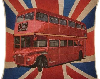 Union Jack Red London Bus Woven Tapestry Cushion Cover Sham