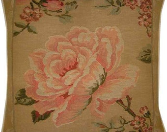 Pink Rose Left Woven Tapestry Cushion Cover Sham