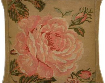 Pink Rose Right Woven Tapestry Cushion Cover Sham